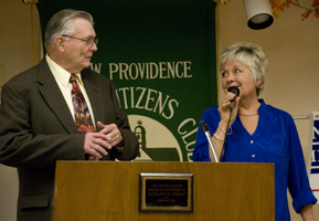 Outgoing New Providence Historical Society President John Bale h
